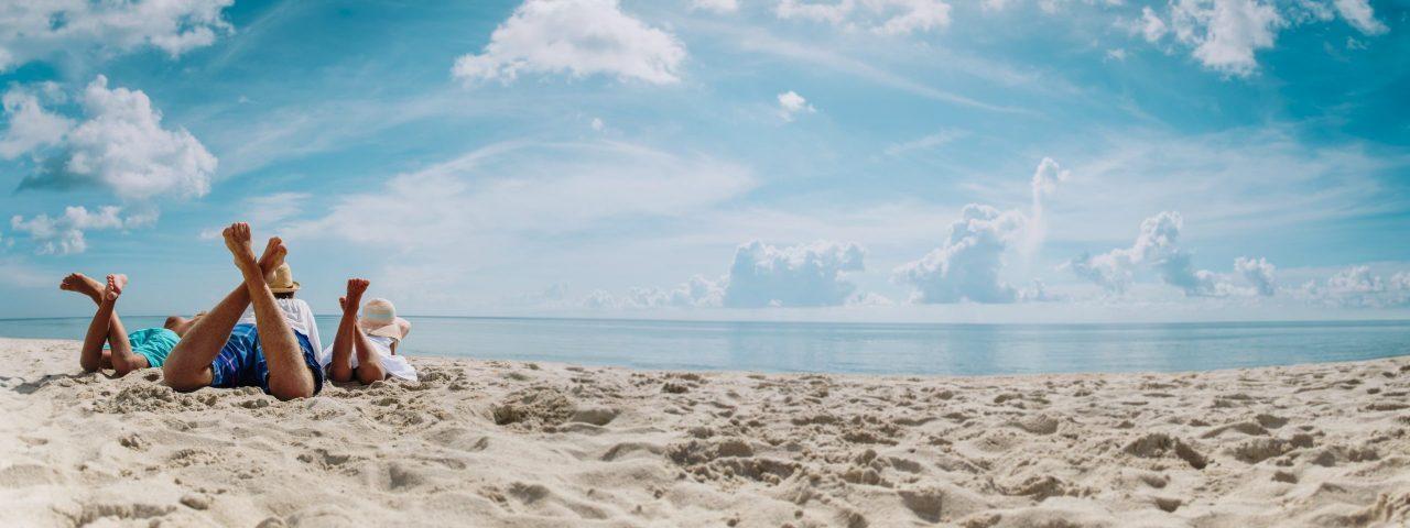 Family beach sand